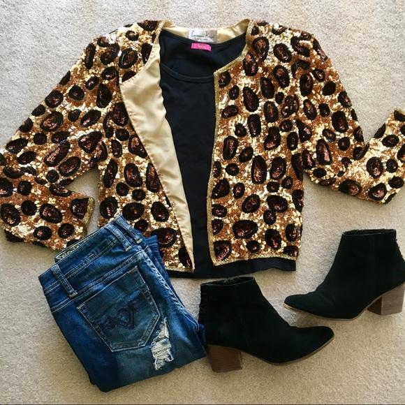 d7e09963c87 laurence kazar Jackets   Blazers - Vintage leopard sequin jacket